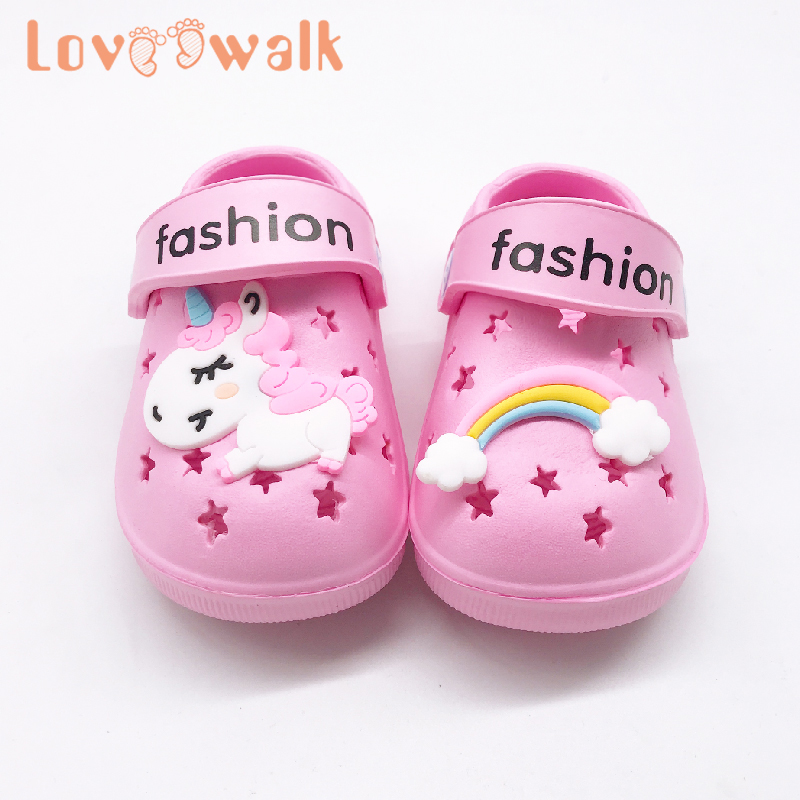 Kids Croc Slippers Cartoon Unicorn Pattern Indoor Floor Slippers For Girls Boys Summer Outdoor Dual Use Children Beach Shoes