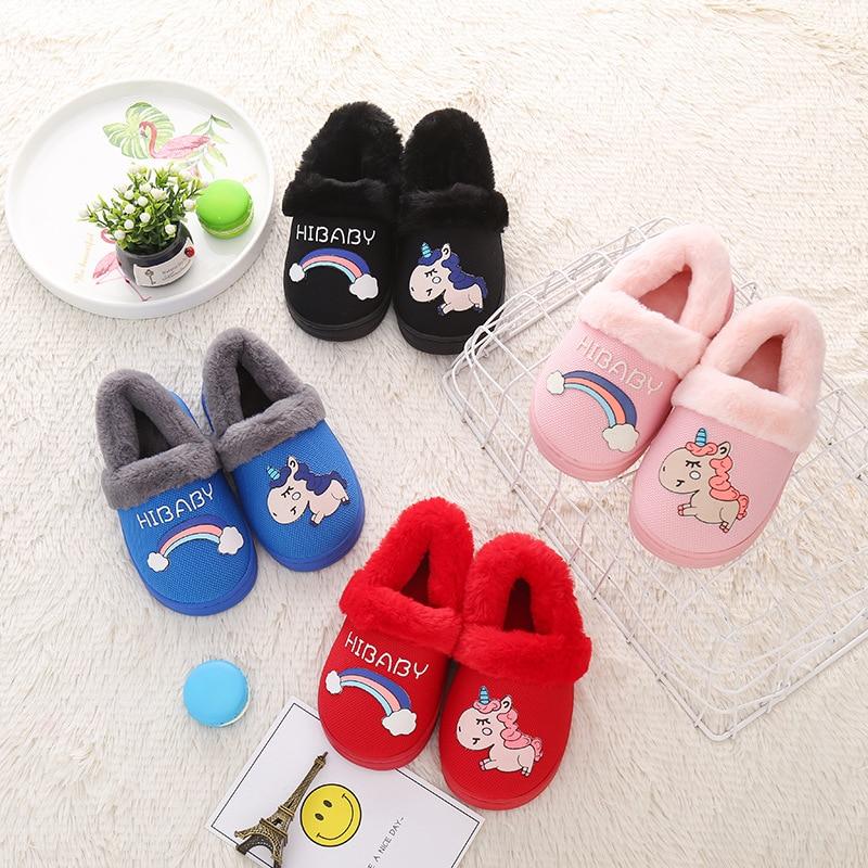 New Style Night Light Fluorescent Children Fashion Cartoon Children Baby Cotton Shoes Cotton Slippers Warm BOY'S Girls Cotton Sl