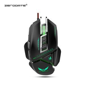 Zerodate x400gy usb wired gaming mouse computador mecânico computador pc mouse ratos 3200 dpi botões led backlight para paz elite computador