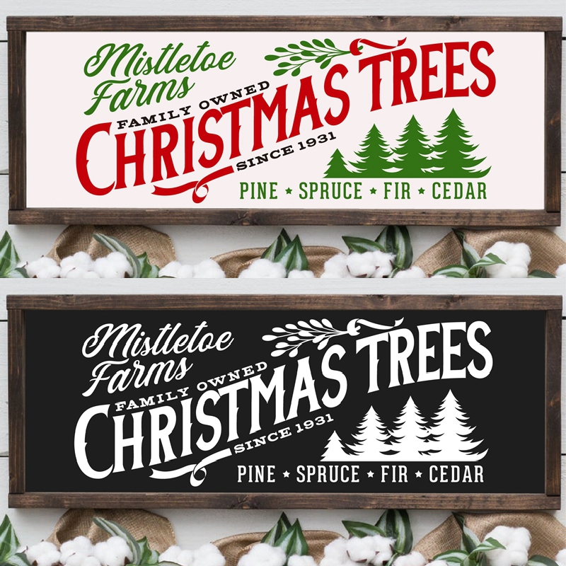 Mistletoe Farms Christmas Trees Print Rustic Christmas Home Decor Farmhouse Wall Sign Poster Art Canvas Painting Wall Picture