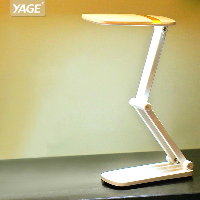 YAGE led Table Lamp Touch LED Desk Non-limit Dimming reading desk lamp usb Foldable light  10 pcs SMD Led