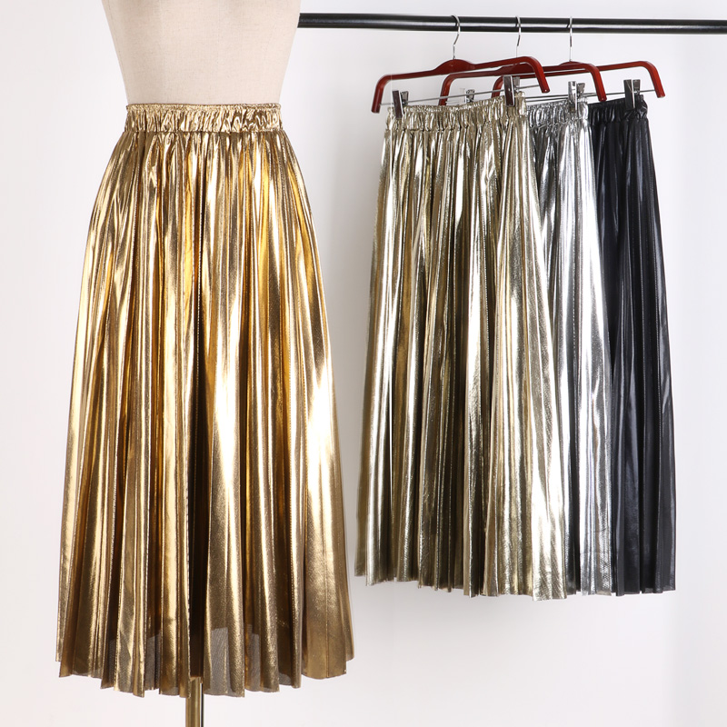 Suede Metallic Skirt Gold Silver Long Striped Elasticity Pleated Skirts Womens Saias Faldas Vintage Women Party Punk Club Skirt