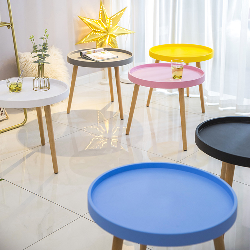 Creative Wood Coffee Table Colourful Fashion Cute Pink Blue White Black Dining Tea Table Small Round Table For Living Room