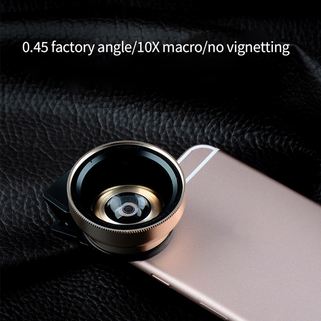 2 IN 1 Lens Universal Clip 37mm Mobile Phone Lens Professional 0.45x 49uv Super Wide-Angle + Macro HD Lens For iPhone Android 4
