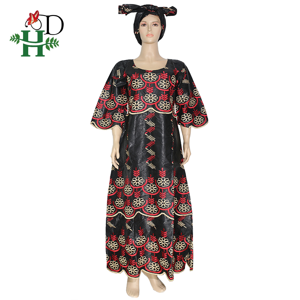 H&D African Dashiki Dress For Women Embroidered Bazin Maxi Dresses Traditional South Africa Ladies Clothes Nigerian Auto Gele