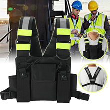 Military Tactical Pouch Vest Harness Backpack Holster Bag Chest Pocket Pack For Walkie Talkie Radio Light Reflective Strip(China)