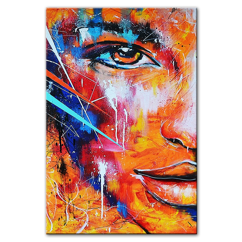 Sexy Woman Face Art Wall Picture Abstract Pure Hand-painted Oil Painting Portrait Wall Canvas Art Paintings For Bedroom Decor