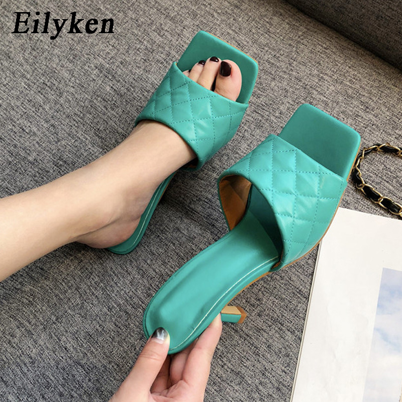 Eilyken Summer New Square Toe Design Women Mules Slippers Stiletto Sandals Slide High Heel Ladies Outdoor Elegant Party Shoes