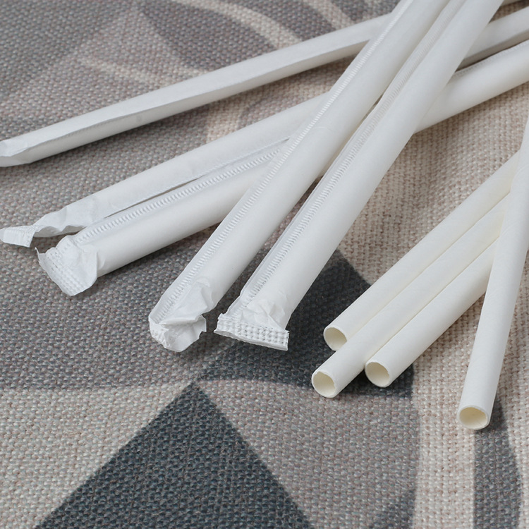Factory Currently Available Separate Packaging Papers Straw Single Bottle Bag Paper Straw Pure White Hotel Customizable Paper St