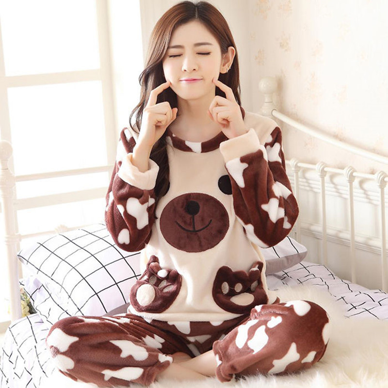 Pajamas Set Women Plush Warm Sexy Autumn Winter Thick Pyjamas Flannel Home Spring  Cartoon Student Sleepwear 2Piece/Set Big Size