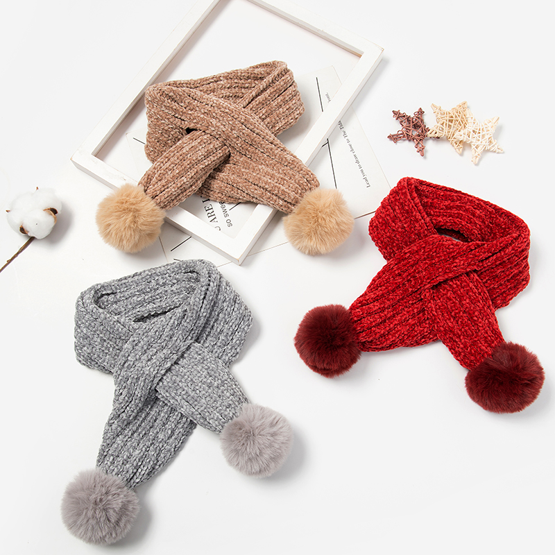 Kids Winter Scarf Baby Scarf Boys Girls Warm Neck Warmer Scarves Knitting With Fur Ball Neckerchief Foulard Echarpe