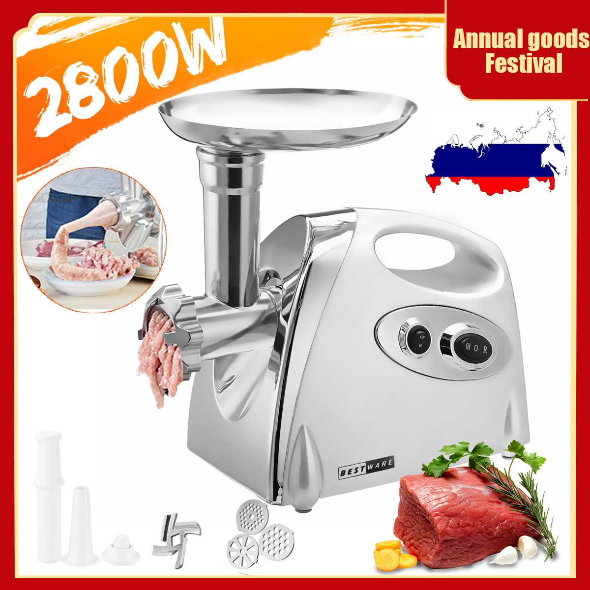 2800W Electric Meat Grinders Stainless Steel Powerful Electric Grinder Sausage Stuffer Meat Mincer Slicer For Kitchen Appliance