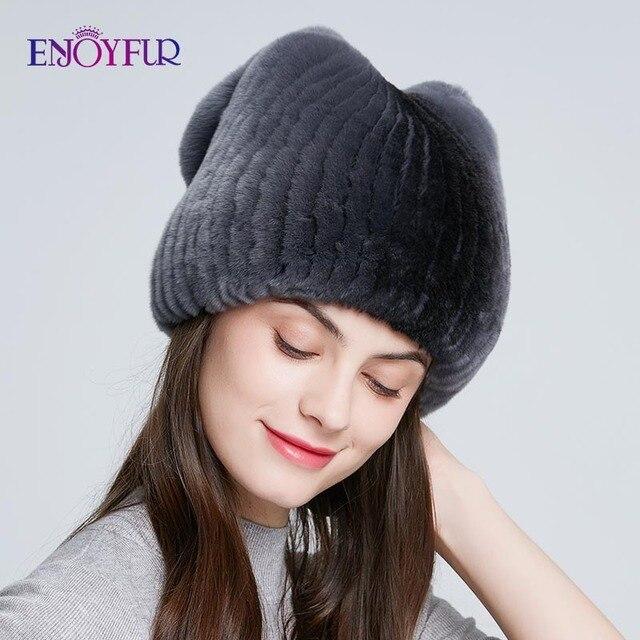 ENJOYFUR Real Rexกระต่ายหมวกขนสัตว์ฤดูหนาวสำหรับผู้หญิงหมวกขนสัตว์ธรรมชาติแฟชั่นโบว์โบว์หญิงอบอุ่นหมวก