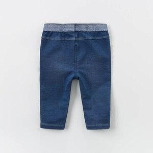 Image 2 - DB13617 dave bella baby girl  spring pants children full length denim blue kids solid pants infant toddler trousers