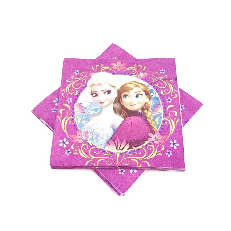 16pcs Frozen 16*16 cm Purple Napkins Girls Birthday Party Decorations Supplies Frozen Disposable Paper Towel Tableware Supply