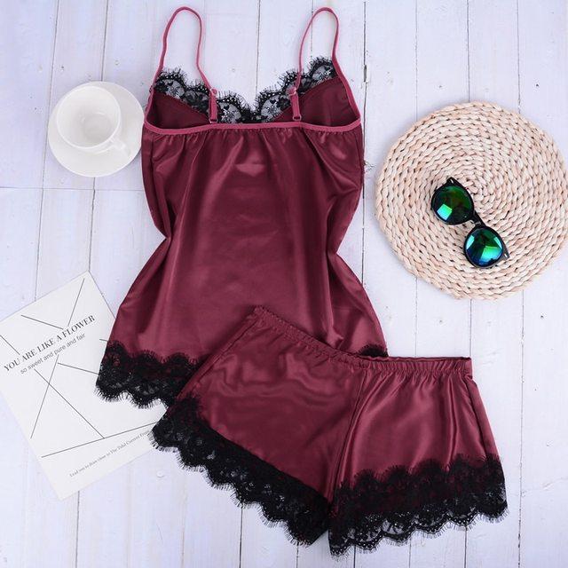 New Separate 2pcs Lace Sleepwear Women Beach Dress Lingerie Night Short Sleeveless Ladies Satin Nightgown Through La Sleepwear 1