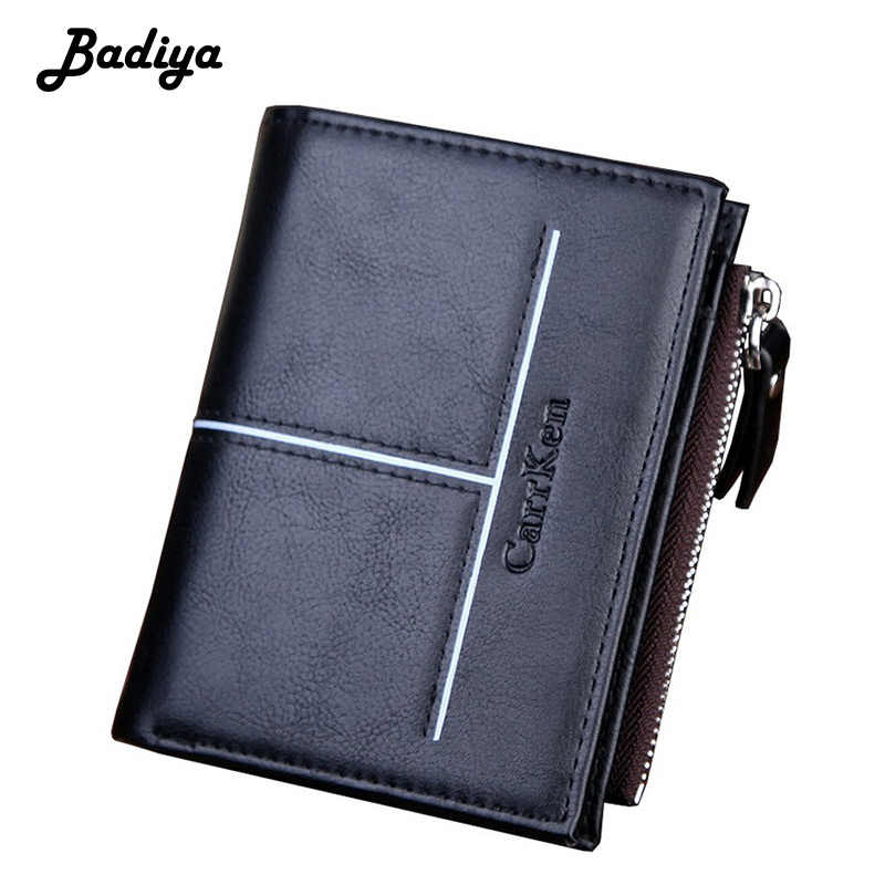 Brief Men Wallet Solid Color Vertical Clutch Bag Multi-card Slot Credit Card Holder High Quality Short Hasp Zipper Male Purse
