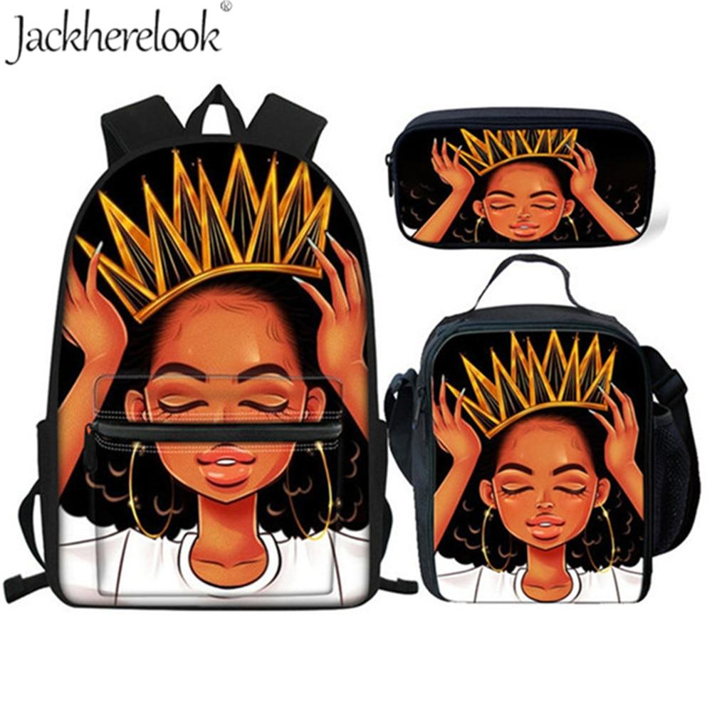 Jackherelook Black Woman Crown Print 3Set/pcs School Bags For Girls Primary African QueenWomen Backpack Book Bag Mochila Escolar