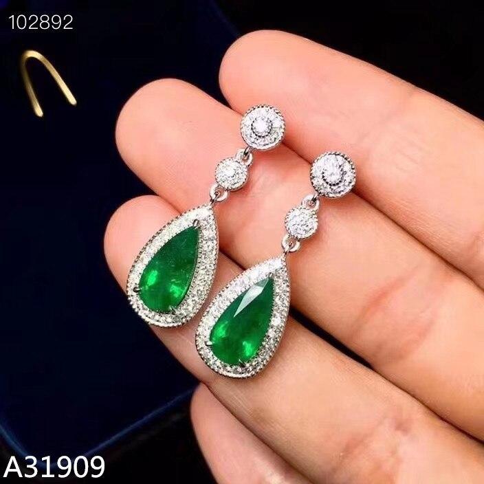 KJJEAXCMY boutique bijoux 925 argent sterling incrusté naturel émeraude boucles d'oreilles soutien détection luxe