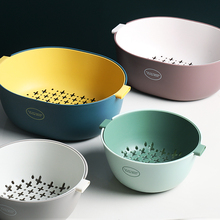 O&U Style High Quality Fruit Vegetables Washing Basket With Handle Double-layer Colander Kitchen Strainer