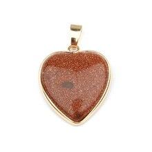 Wholesale Charms for Jewelry Making Natural Stone Pendant Heart Shape Pendants Rose Qurtaz As Men Women Gift 35x24x7mm