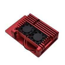 for Raspberry Pi 4 4B Aluminum Case Enclosure CNC Cover with Heatsink Cooling Dual Fan for Raspberry Pi 4 Model B(Red)(China)