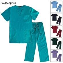Униформа для больничной операционной комнаты, комплекты медицинской одежды для кормящих, одноцветная женская униформа, хлопковая рубашка медсестры+ штаны, комплект аптеки