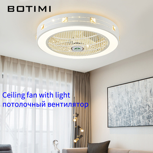 Image 2 - BOTIMI Modern LED Ceiling Fans With Lights For Living Room 220V Cooling Ventilador Round Ceiling Fan Lamp With Remote Control