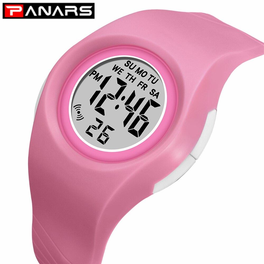 PANARS New 2019 Colorful 7 LED Lights Kids Digital Watches 50M Waterproof Luminous Alarm Chronograph Wristwatch For Girls Boys