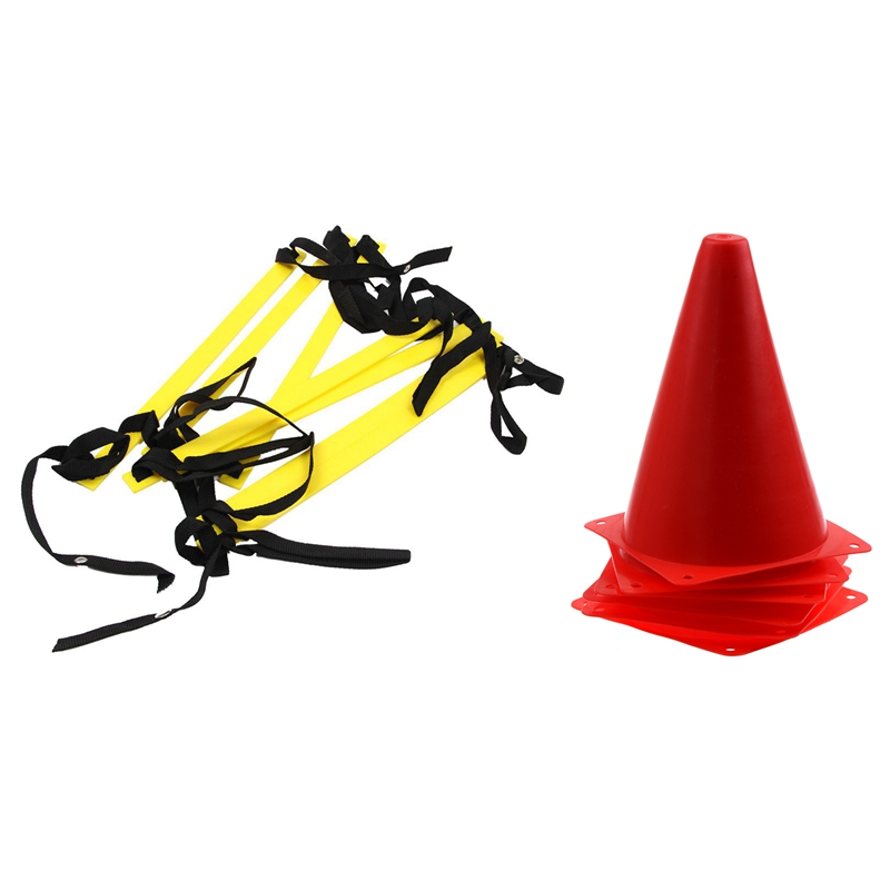 6 Pcs Agility Cone For Football Soccer Sports Field Practice Drill Marking Red & 1Pcs 10 Feet Agility Speed Ladder Soccer Traini
