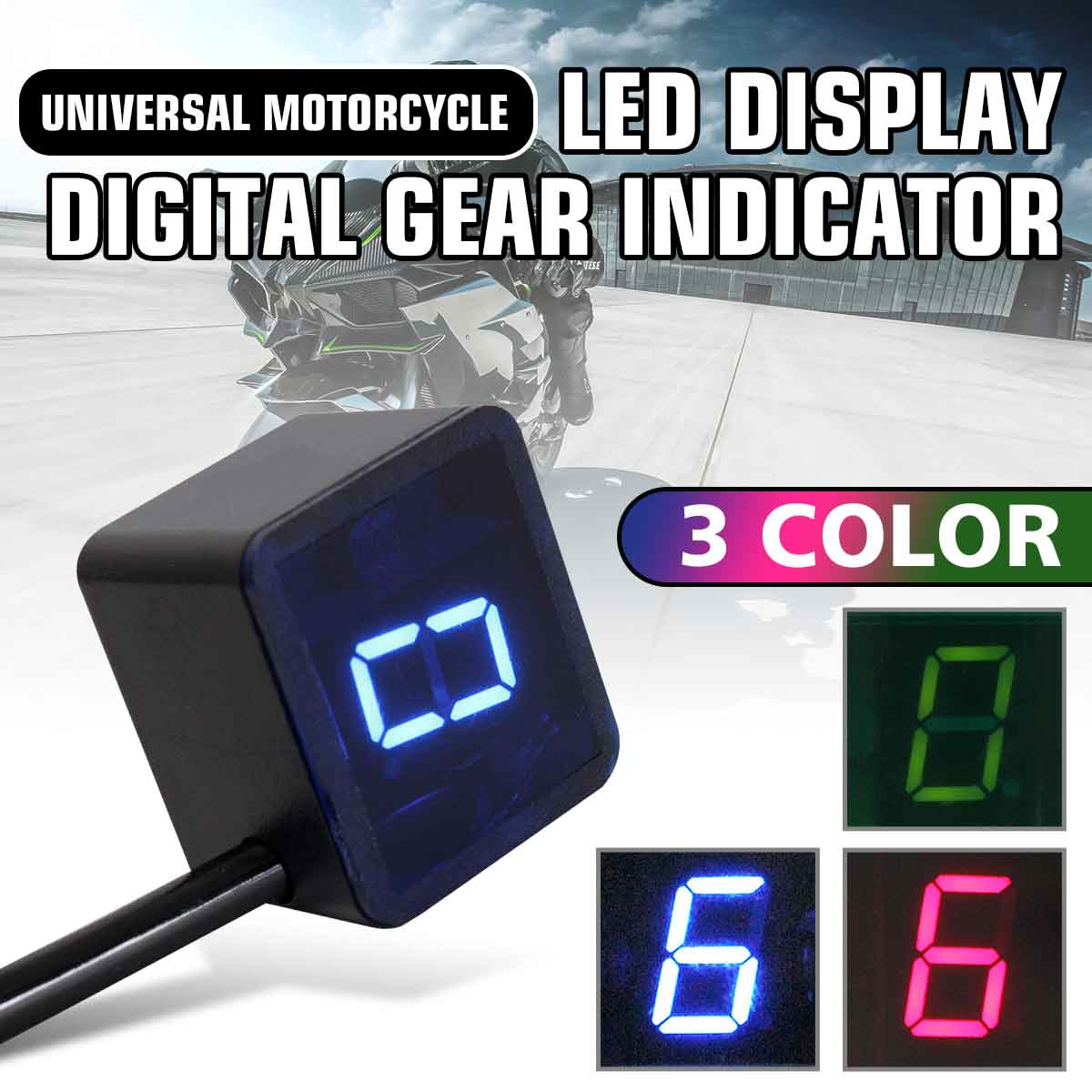 6 Speed Neutral Universal Motorcycle/Bike Digital Gear Indicator LED Display + Shift Lever Magnet