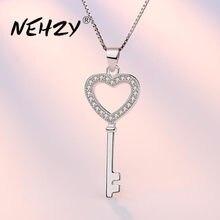 NEHZY-collar con colgante de circón y cristal para mujer, joyería de plata de ley 925, llave de alta calidad, 45CM de longitud