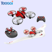 Teeggi T11 3-in-1 Vehicle Detachable RC Drone EPP Flying Air Boat Glider RC Airplane 2.4G RC Quadcopter For Kids VS E016F S9HW(China)
