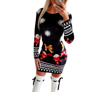 Dresses for Women Christmas Bodycon 2020 Fashion knitted Print Woman Dress Long Sleeve Autumn Winter Clothing for Female D30