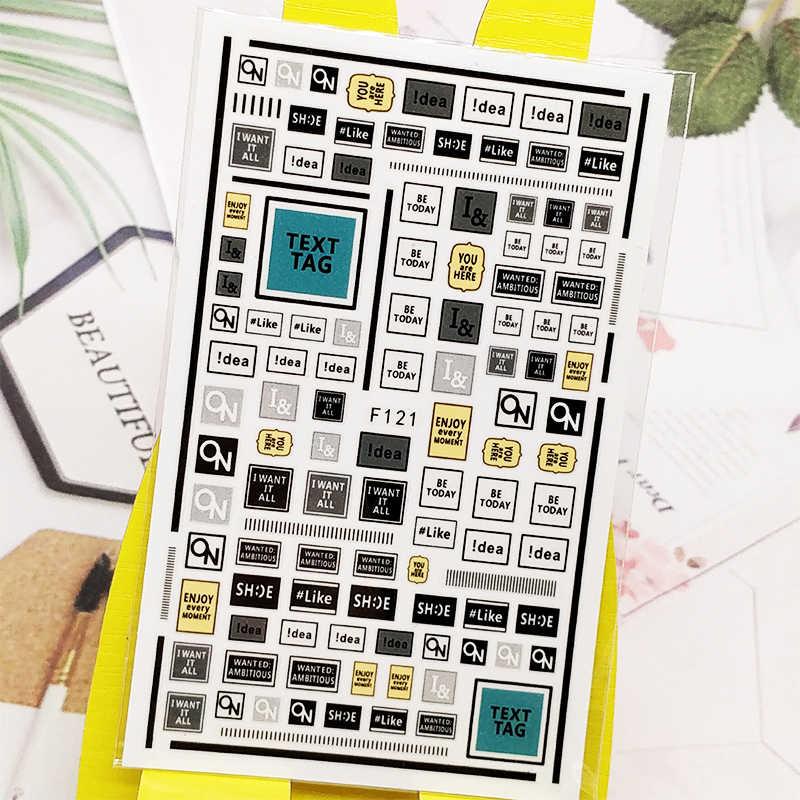 3Dสติกเกอร์สำหรับเล็บจดหมายภาษาอังกฤษCheckered Designs Nail Artตกแต่งฟอยล์Decalsเล็บอุปกรณ์เสริมDecoraciones