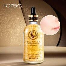 ROREC 24K Gold Horse Oil Face serum Hyaluronic Acid Replenishment Moisturize Shrink Pore Brighten Nicotinamide Skin Care 100ml