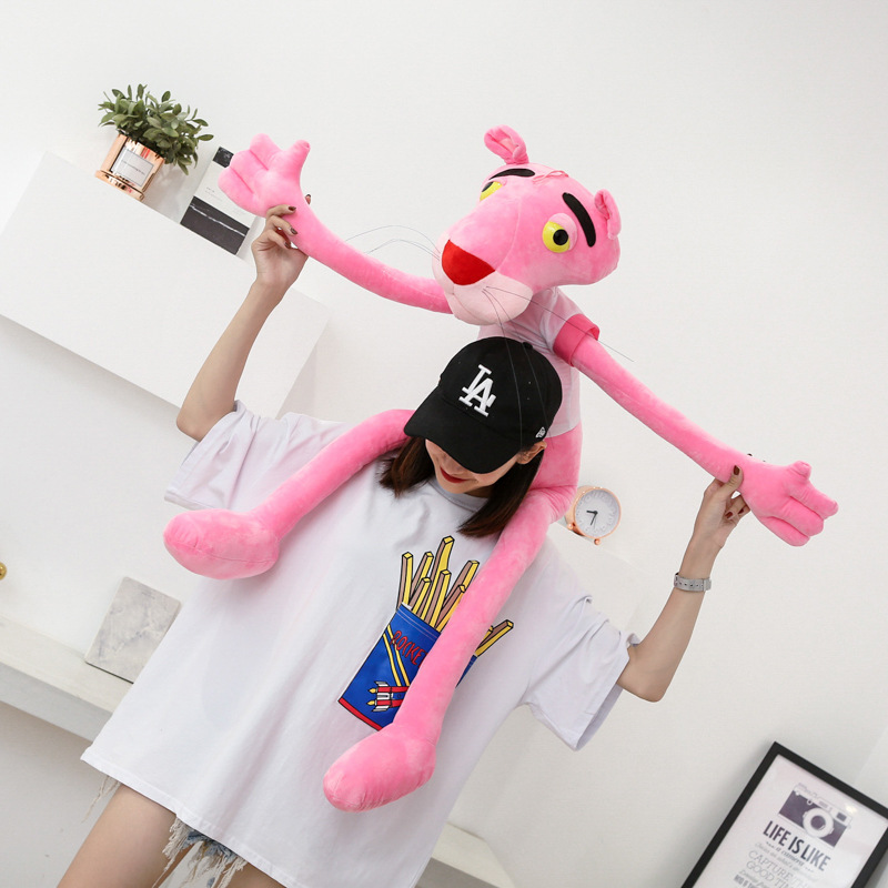 Factory Wholesale Pink Panther Plush Toy Korean-Style GIRL'S Heart Pink Panther Doll to Sleep with Pillow for a Girlfriend Gift