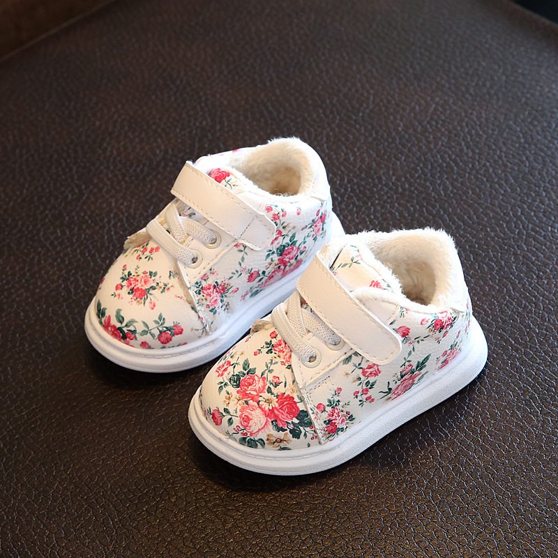 Winter Baby Shoes New Cotton Girls Princess Shoes Small Floral Warm Baby Girl Sneakers Soft Bottom Toddler Casual Tennis Shoes