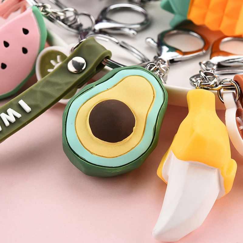 ใหม่แฟชั่นจำลองผลไม้กล้วยสับปะรดพวงกุญแจ 3D นุ่มเรซิ่น Avocado Key Chains เครื่องประดับงานแต่งงานแฟชั่นของขวัญ