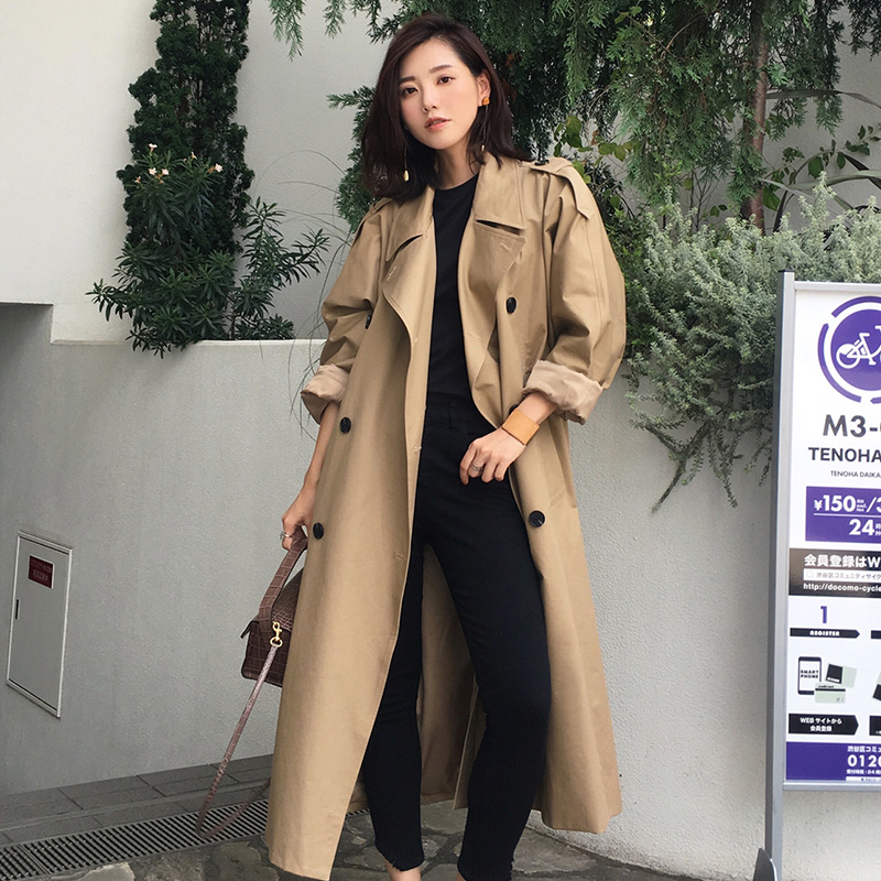 Women's Casual Trench Coat 2019 Autumn Double Breasted Vintage Elegant Khaki Outwear Loose Abrigo Mujer Windbreaker Outwear FY11