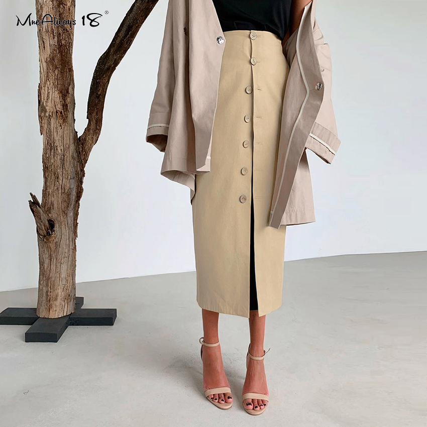 Mnealways18 Casual Khaki High Waist Office Skirt Long Women Skirts 2020 Spring Single-Breasted Straight Ladies Work Skirt Button