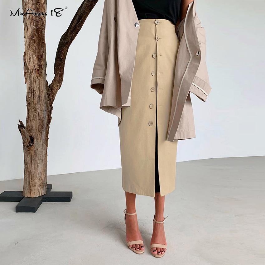 Mnealways18 Casual Khaki High Waist Office Skirt Long Women Skirts 2020 Spring Single-Breasted Straight Ladies Work Skirt Button