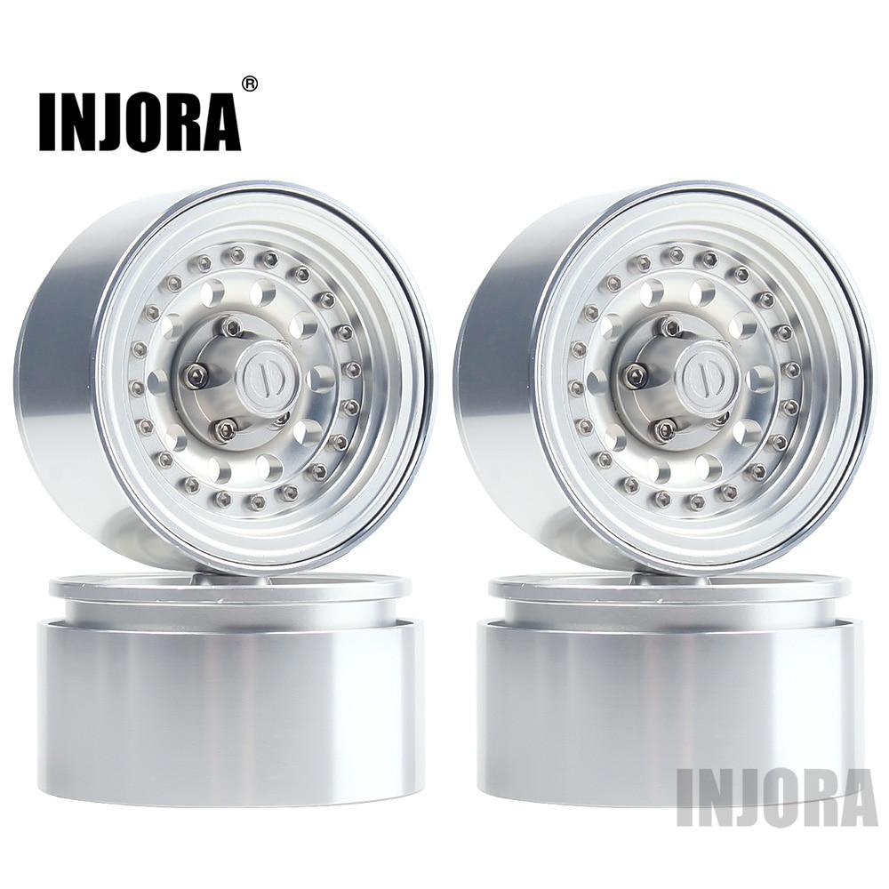 INJORA 4PCS Black/Silver 1.9 Aluminum Alloy Beadlock Wheel Rim For 1:10 RC Crawler Axial SCX10 90046 AX103007 TRX4 Bronco