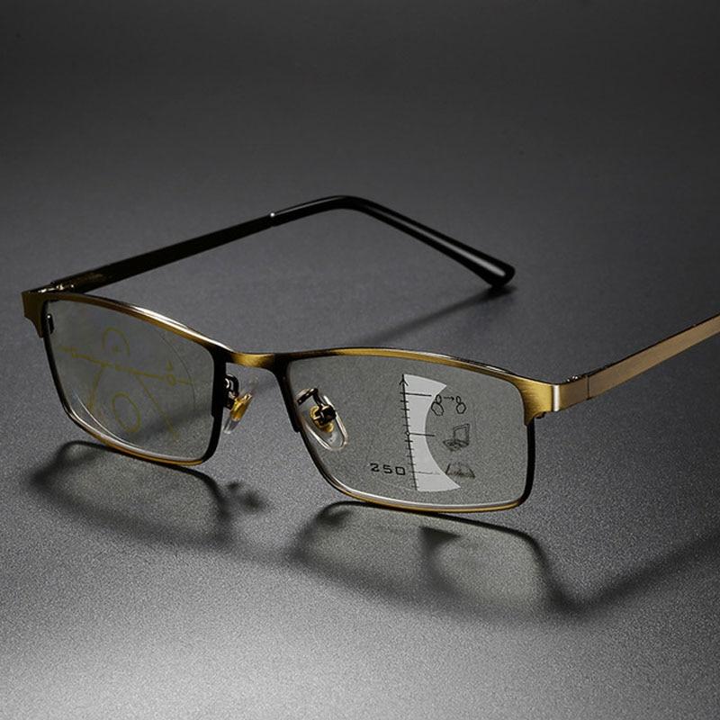 Progressive Multifocal Reading Glasses Men Alloy Frame Photochromic Eyeglasses Women Anti Blue Light Prescription Glasses 1.5