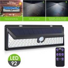 Street Lamp Walkway Lights 92 LED Motion Sensor Outdoor Security Light Controlled Solar Power Black Home Garden Durable