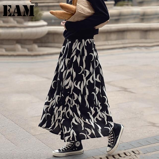[EAM] Chiffon Pattern Print Black Long High Elastic Waist Half-body Skirt Women Fashion Tide New Spring Autumn 2021 1DD4782 1