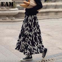 [EAM] szyfonowa wzór druku czarne długie wysokie w pasie spódnica pół ciała kobiety moda fala nowa wiosna jesień 2021 1DD4782 tanie tanio COTTON Poliester CN (pochodzenie) A-LINE NONE empire Drukuj Na co dzień Połowy łydki black