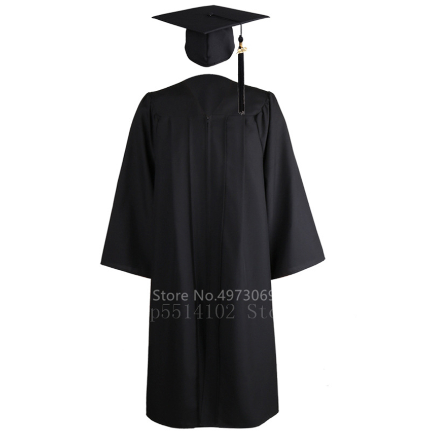 2020 2PCS Unisex American University Student Graduation Uniform Adult Academic Dress For Women Men Bachelor Gown Hat Set Costume