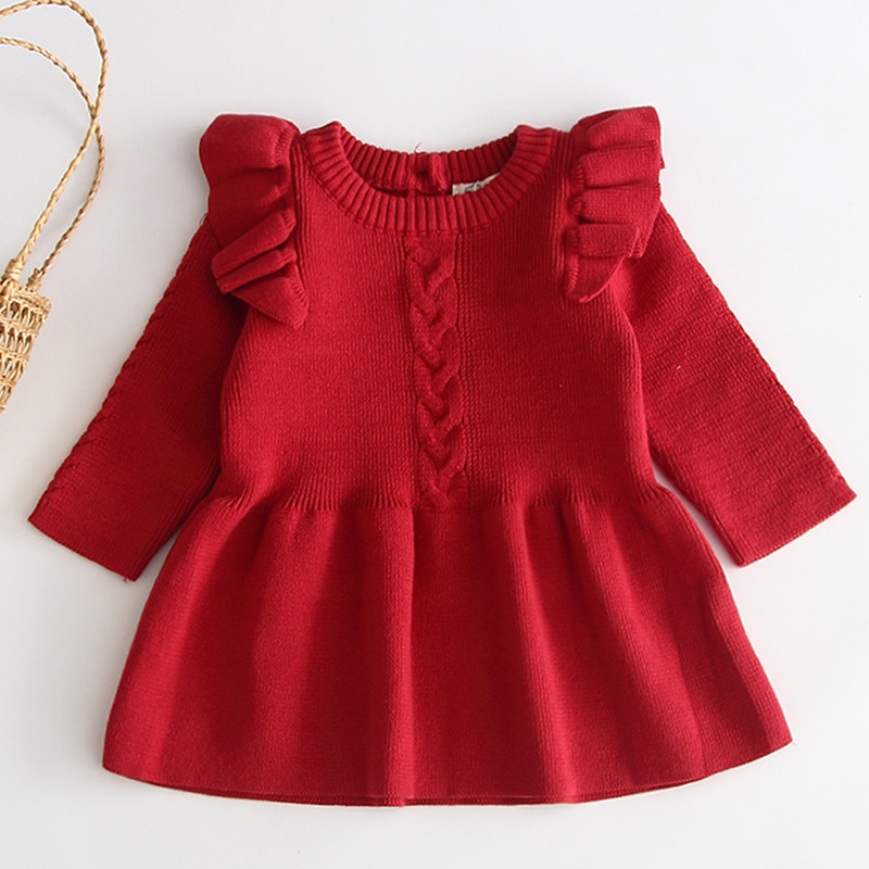 Winter Knitted Dress Autumn Toddler Girl Dresses For Female Babies Infant Warm Dress Knitted Sweater Kids Dresses For Girls 3