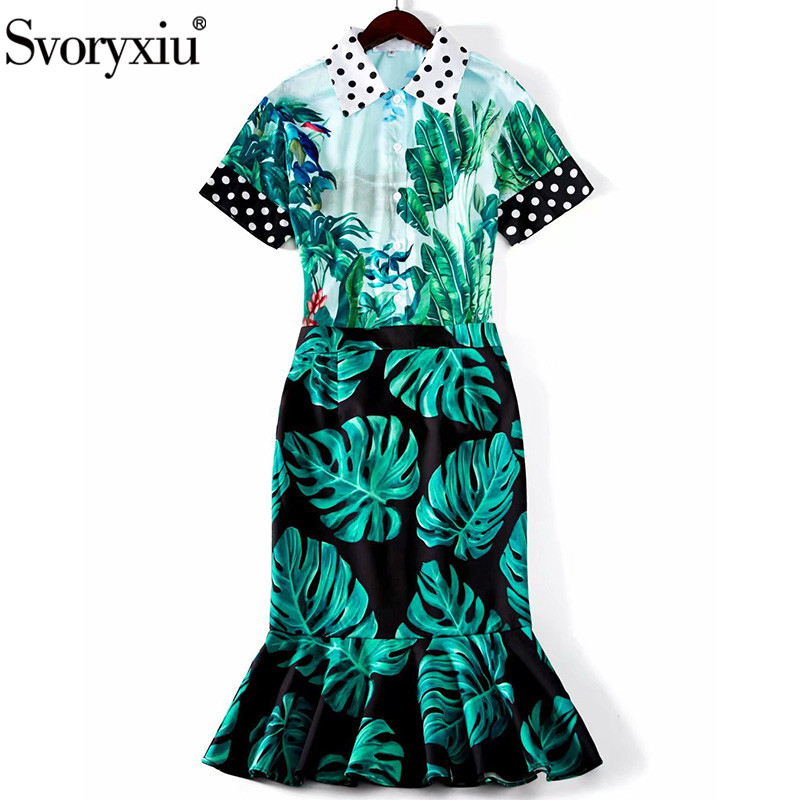 Svoryxiu 2020 Runway Designer Summer Skirt Suit Women's Short Sleeve Banana Leaf Dot Print Blouse + Mermaid Skirt Two Piece Set